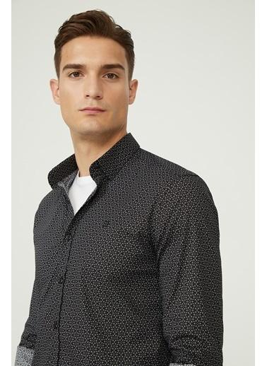Avva Erkek  Baskılı Düğmeli Yaka Gömlek A02Y2293 Siyah